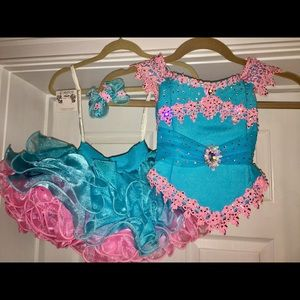 Cotton Candy blue and pink pageant dress